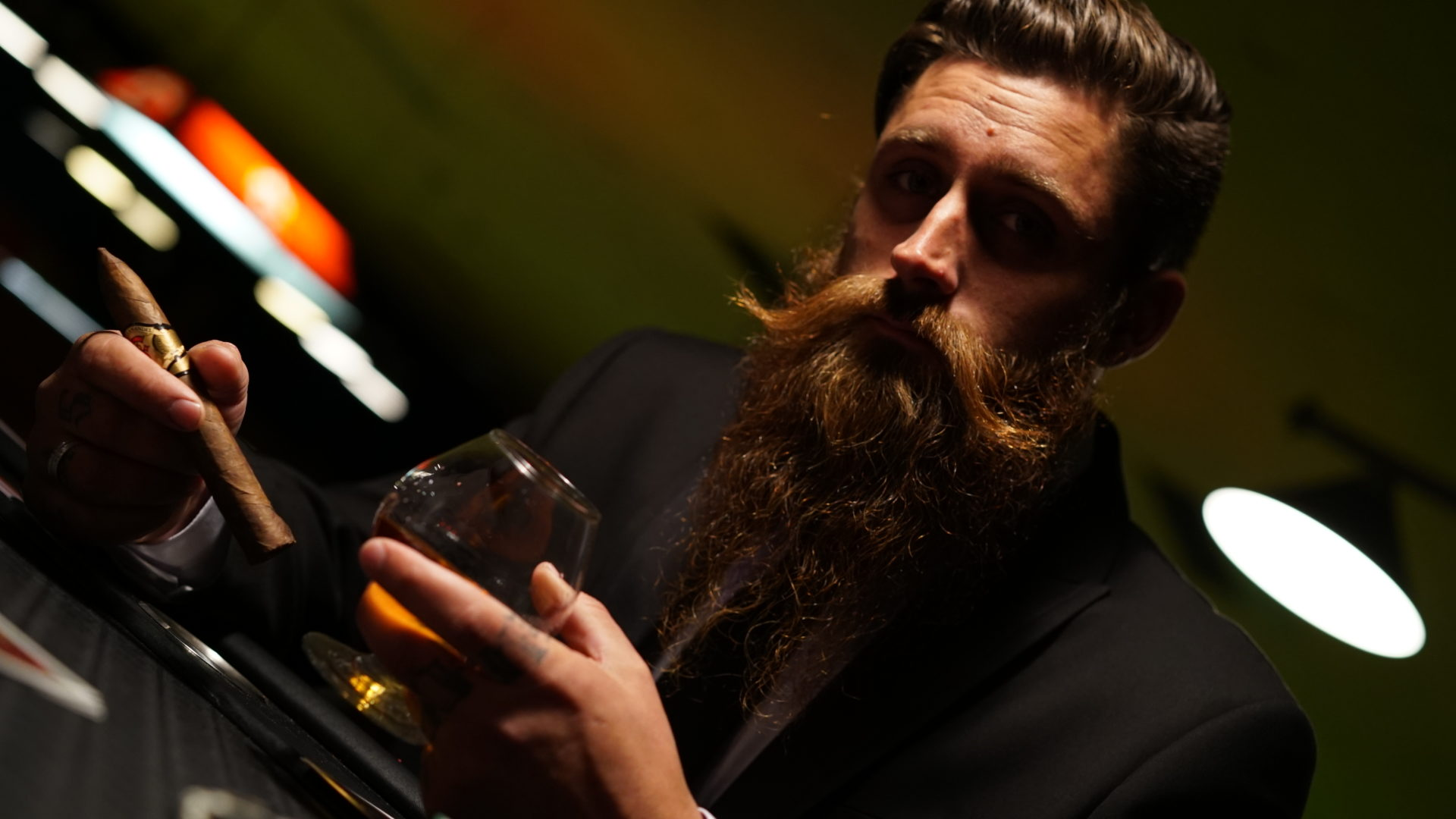 cigar and cognac with beards
